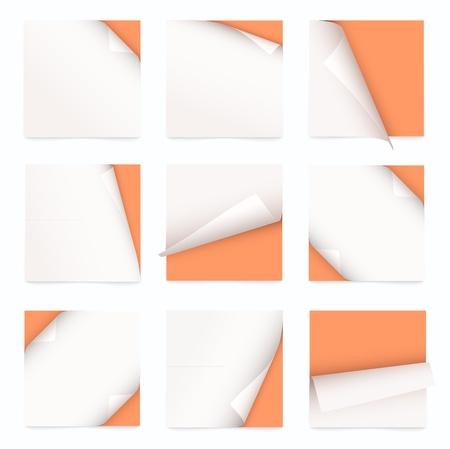 oranje set van nota papier met gekrulde hoek