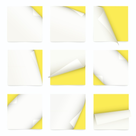 yellow set of note paper with curled corner Vector
