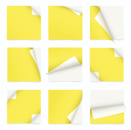 yellow set of note paper with curled corner Stock Vector - 19392552