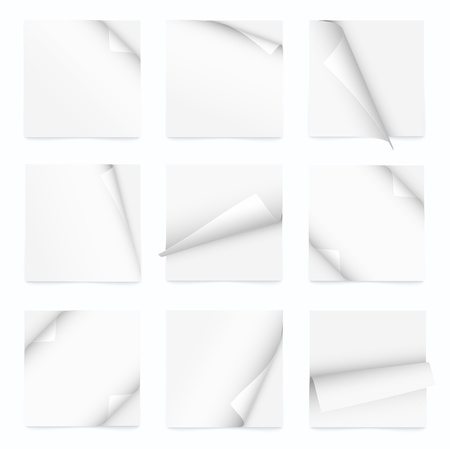white set of note paper with curled corner Vector