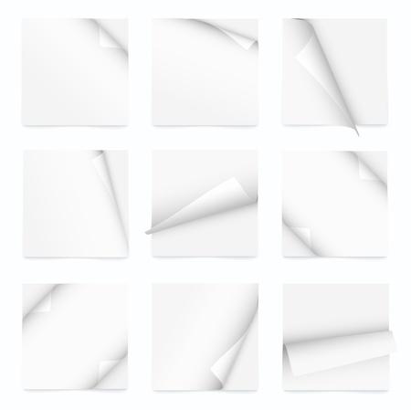 wit set van nota papier met gekrulde hoek