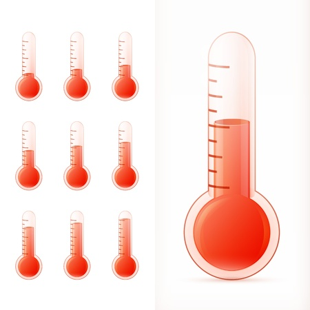 hotness: thermometer red set. different states with transparent glass.   illustration Illustration