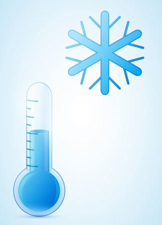 cold weather: thermometer with snowflake. cold weather illustration. transparent glass.