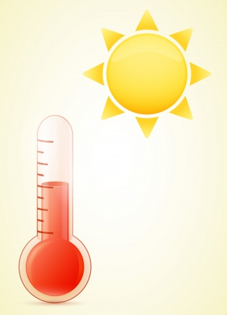 coldness: thermometer with sun. hot weather illustration. transparent glass. Illustration
