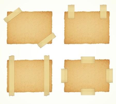 sticky tape: vector de etiquetas de cart�n unidos con una cinta adhesiva sobre fondo blanco