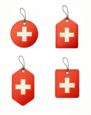 swiss flag: set of labels with swiss flag isolated Illustration