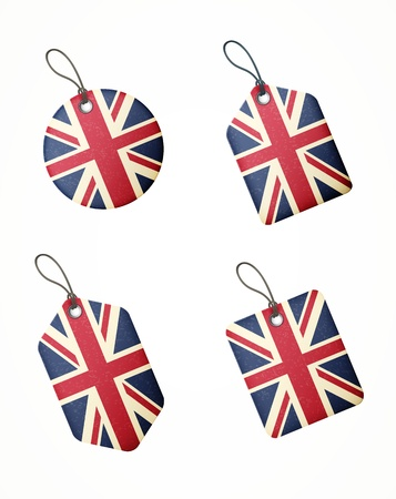 union jack: set of labels with united kingdom flag isolated