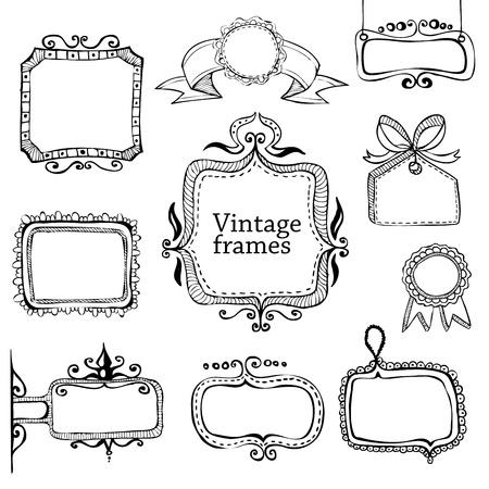 scrapbook frames: vintage hand drawn frames collection  Illustration