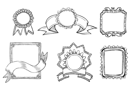 hand drawn frame: vintage hand drawn frames collection  Illustration