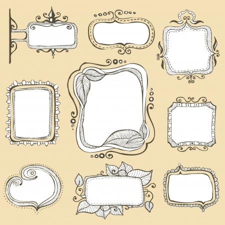 incomplete: vintage hand drawn frames collection  Illustration