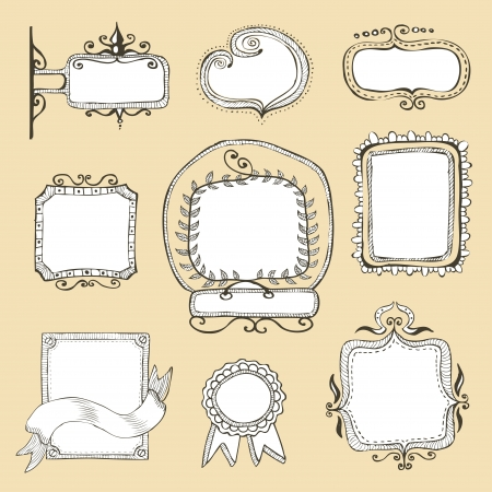 vintage hand drawn frames collection  Illustration