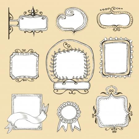 vintage hand drawn frames collection  Illustration