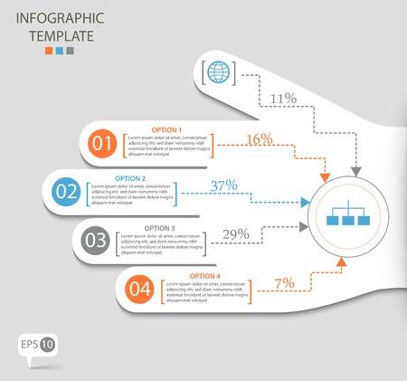 Infographic možnosti s abstraktní ruce Ilustrace