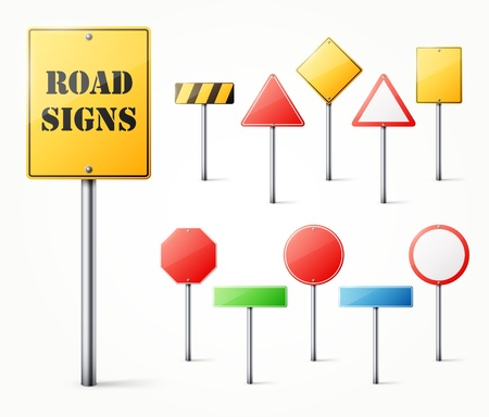 Set of road signs  illustration Vector