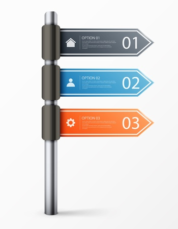 directional: Modern road sign design template for infographics, sign banners, graphic or website layout.