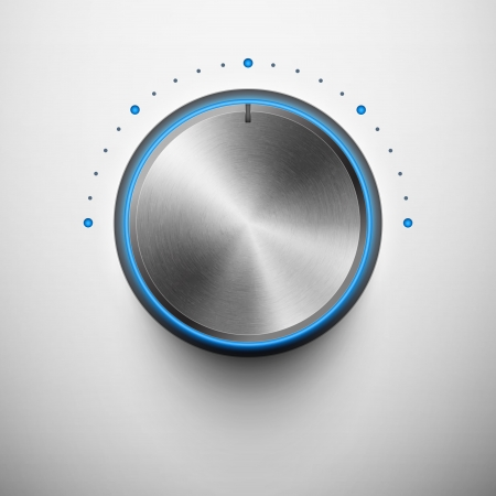 volume knob with metal texture and blue light eps10 Vector
