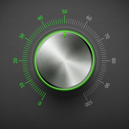 volume knob with metal texture and green scale eps10 Vector