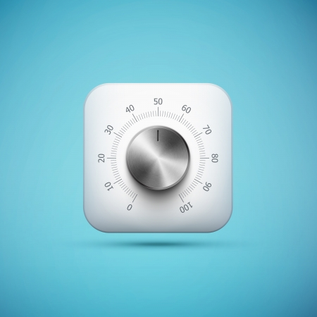 app banner: white app icon with music volume control knob, realistic metal texture, ep10 vector illustration