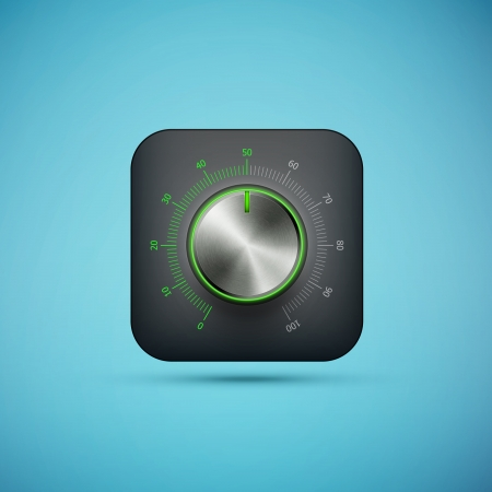 black app icon with music volume control knob, realistic metal texture, ep10 vector illustration Vector