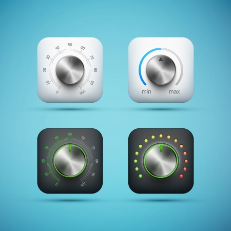 set of app icon with music volume control knob, realistic metal texture, ep10 vector illustration
