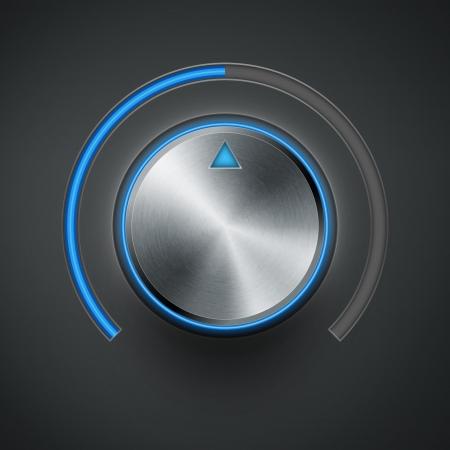 volumeknop met metalen structuur en blauwe schaal eps10