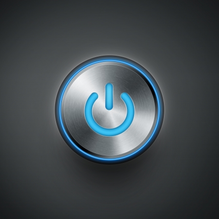 shiny buttons: power button with blue light eps10 vector illustration