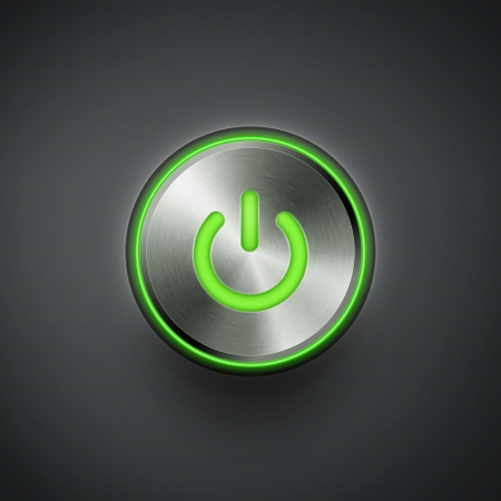 green power: power button with green light eps10 vector illustration