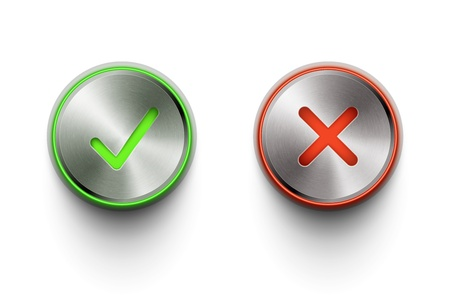 ok and cancel metal round buttons on white background eps10 vector illustration Vector