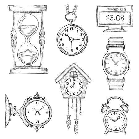 hand drawn clocks set eps8 Vector Illustration