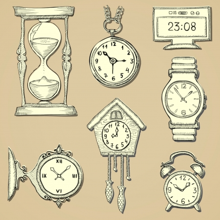 hand drawn clocks set eps10 Vector