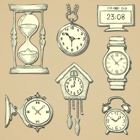 hand drawn clocks set eps10 Stock Vector - 19977388