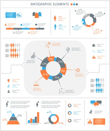 detailed infographic elements set with  graphics and charts eps8 Illustration