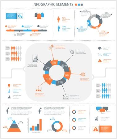 detailní infographic prvky uvedené s grafikou a grafy eps8