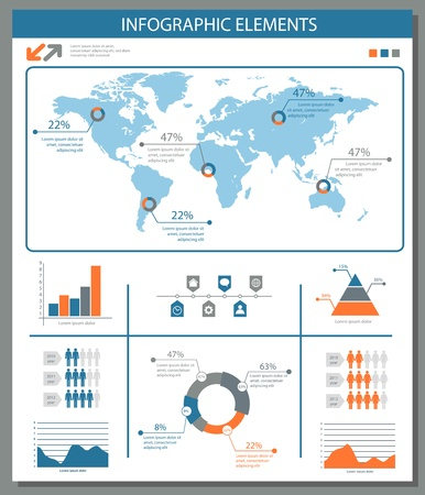 detailed infographic elements set with world map graphics and charts eps8 Vector