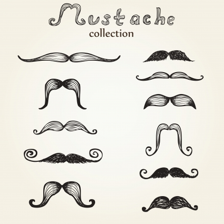 Hand drawn mustaches set eps8 向量圖像
