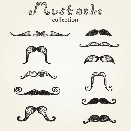 Hand drawn mustaches set eps8 Illustration