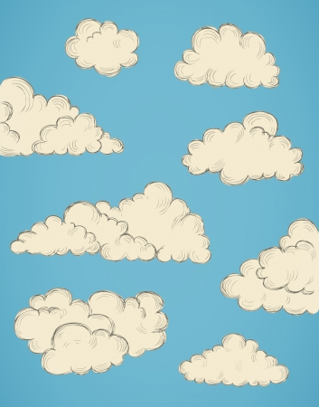 vintage hand drawn clouds eps10 vector illustration Stock Vector - 19977410
