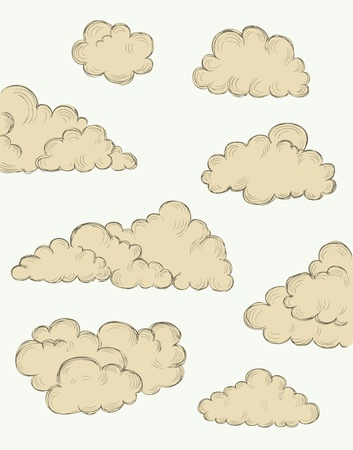 vintage hand drawn clouds eps10 vector illustration Stock Vector - 19977403