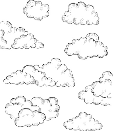vintage hand drawn clouds eps8 vector illustration Illustration