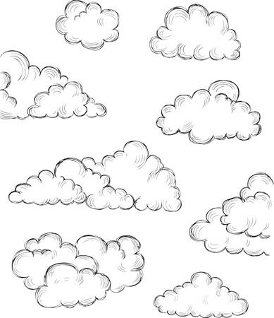 Vintage hand getekende wolken eps8 vectorillustratie Stock Illustratie