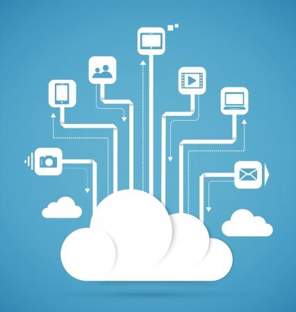 Cloud computing technology abstract scheme eps10 vector illustration Vector