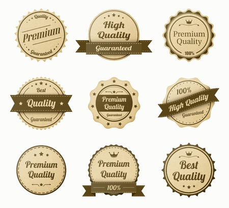 retro vintage labels set. realistic paper texture. eps10 vector illustration Vector