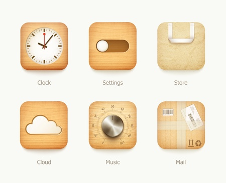 wooden and paper icons app set  illustration Stock Vector - 20856317