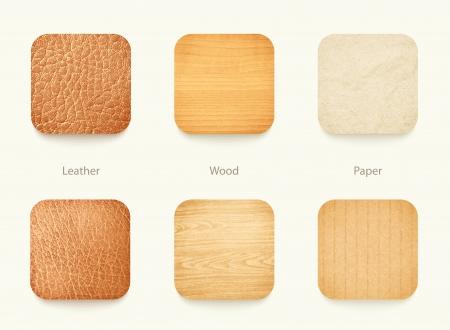 marco madera: Conjunto de madera del papel y los iconos de aplicaciones de cuero, para el fondo o plantilla