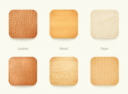 set of paper wood and leather app icons, for background or template