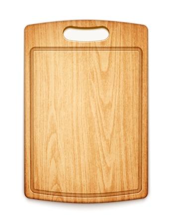 白い背景の上に木製のまな板