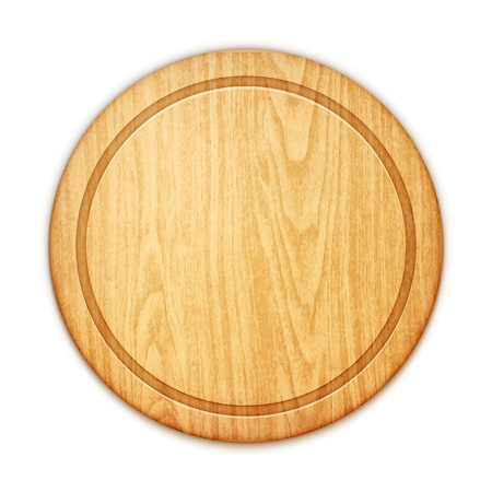 wood cuts: empty round cutting board on white background
