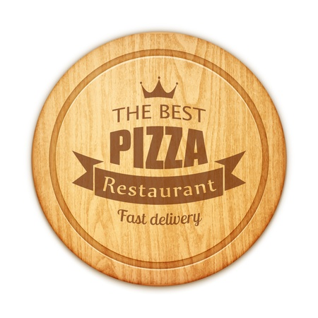 wood cuts: empty round cutting board with pizza restaurant label