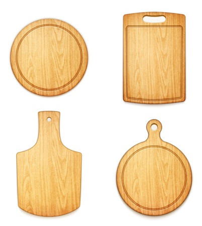 scratch board: set of empty wooden cutting boards on white background