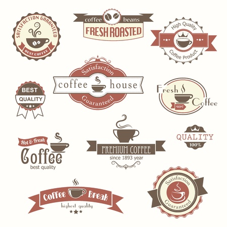 set of coffee vintage badges and labels